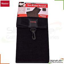 Masters Tri Fold Golf Towel With Bag Clip And Club Scrub Patch Black