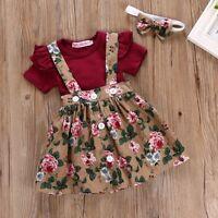 3PCS Newborn Kids Baby Girl Outfit Clothes Set Romper Bodysuit+Strap Dress Skirt