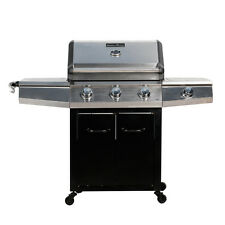 3 Burner BBQ Gas Grill Garden Outdoor Propane Grill Barbecue w/ Sideburner Table
