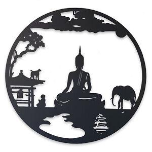 Buddha Metal Wall Art 60cm - Round Hanging Garden Decor Outdoor Sculpture
