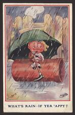 What's Rain - If Yer 'Appy ? 1922 Ludgate Under the Umbrella Humour by Alphalsa