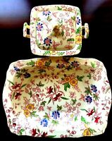 1930s Empire England Chintz Floral Square Bowl w/ Lid & Rectangle Bowl 3 PCS Set