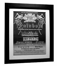 MONSTERS OF ROCK FESTIVAL+POSTER+AD+RARE ORIGINAL 1980+FRAMED+FAST GLOBAL SHIP
