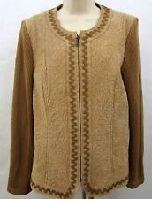 Peter Nygard Womens 100% Genuine Leather & Knit Cardigan Jacket Size L Brown