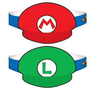 Super Mario Brothers Paper Hats ~ Mario & Luigi Birthday Party Hats favors ~8ct.