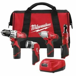 Milwaukee M12 Cordless LITHIUM-ION 4 Tool Combo Kit DRILL DRIVER RATCHET 2493-24