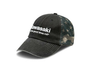 Kawasaki Let The Good Times Roll Vintage American Flag Cap  K002-4092-BKNS