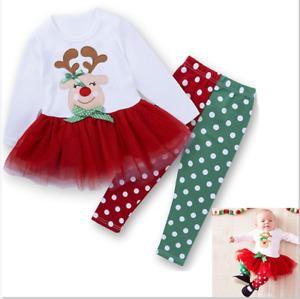 Mädchen Baby Weihnachten Kinder Kleidung Hose + Tutu Kleid 2tl Set Outfits new