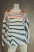 Ladies long sleeved white stripe top size 16 - JOULES