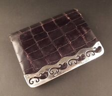 VICTORIAN SILVER MOUNTED CROCODILE LEATHER COIN PURSE / WALLET - LONDON 1899