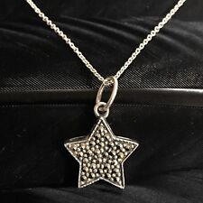 """Star Pendant Necklace 16"""" Long Nice Whimsical Estate Sterling Silver Marcasite"""