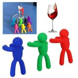 6 Pcs Silicone Party Wine Glass Marker Villain Drink Identifier Label Mark Q4T3