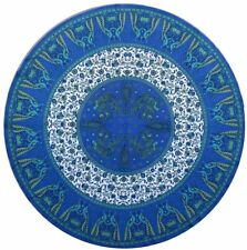 "Round Table Cloth ""Peacock Design"" Blue - 72"" dia. - FREE SHIPPING"