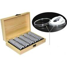 UK Wooden Coins Display Storage Box Case+50 Grids Round Slab Certified Capsule