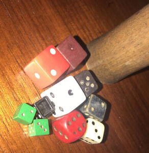 Vintage, Dice With Wooden Shaker