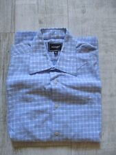 ROCKPORT Men's SHORT Sleeved Shirt CHECKED Size Medium PALE BLUE & WHITE
