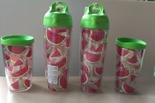 Watermelon Tervis Tumblers Water Bottle Cups 24 16 Oz Lids Lot of 4 NWT