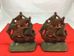 Vintage Small Cast Iron Galleon Ship Book Ends - Nice!