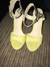 estra for coast yellow  and snake print strappy heels size 5 worn once