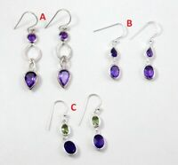 Natural Amethyst Drop Gemstone Earring 925 Sterling Silver Jewelry ME3679
