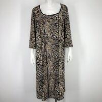 Maggie Barnes Womens 1X Midi Dress Animal Leopard Print Stretch 3/4 Slv 18/20W