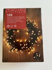 120 Warm White Mains LED String Fairy Lights Outdoor Party Xmas Tree