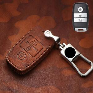 Genuine Leather Car Smart Key Case Cover Fob Holder Shell For Kia Optima Sorento