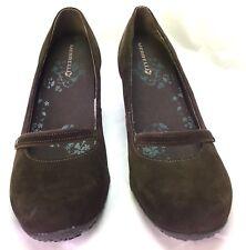 Merrell Mary Jane Shoes Wedge Petunia Brown Print Suede Air Cushion Womens SZ 9