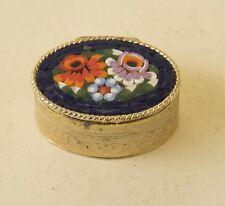 Vtg Italian Micro Mosaic Pillbox Floral Tile Flower Italy Pill Box