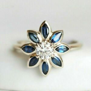 2Ct Marquise Cut Blue Sapphire Gorgeous Flower Ring Solid 14K Yellow Gold Finish