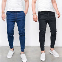 Men Tether Denim Pencil Pants Trousers Straight Jeans Joggers Skinny Hip Hop New