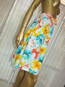 Retro VINTAGE A LINE HIGH WAIST MINI PENCIL KITSCH FLORAL Dress SKIRT s