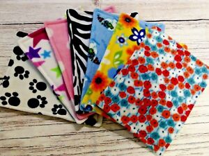 7x Water resistant fleece pee pads, guinea pig, small animals, mixed colours..