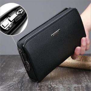 Men's Clutch Bag PU Leather Coded Lock Mobile Phone Cash Long Wallet Soft Black