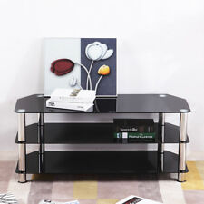 Premium TV Stand Modern Black Glass Table Televisions Unit up to 55 Inch