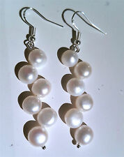 NEW AWESOME 925 Silver Natural Fresh Water Pearl Dangle Earrings