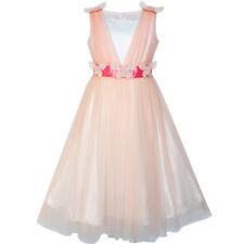 Flower Girls Dress Peach Ruffle Butterfly Wedding Bridesmaid Age 6-14 Years