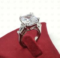 15Ct Large Asscher Cut Three Stone Cocktail Party Ring 925Silver Engagement Ring