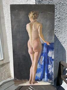 Boris Chaliapin Russian Artist Oil On Canvas Standing  Nude Artist Study 1920