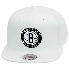 """Mitchell & Ness Brooklyn Nets Snapback Hat All WHITE/Circled """"B"""" & LETTER"""