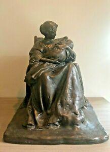 Rare! Large Antique Sculpture Young Mother Bessie O. Potter Vonnoh Excellent