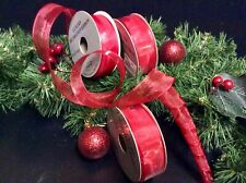 3 ROLLS RED ORGANZA CHRISTMAS RIBBON WIRED CRAFTS GIFTS BOWS DECORATION WRAPPING
