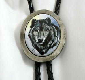 Vintage Wolf Bolo Tie Porcelain by Julie Zsupnik Artistic Impressions