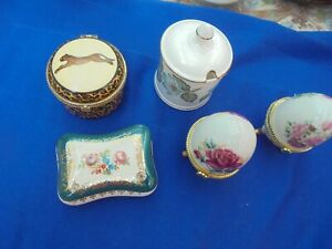 5 x Porcelain China TRINKET BOXES - 2 Egg shaped , Leopard skin & 2 others