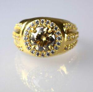 Premium Quality 3.73 Ct Champagne Diamond Solitaire Halo Gold Finish Men's Ring