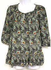 Liberty of London Target Isis Print Top Size MEDIUM Black White Feather NEW