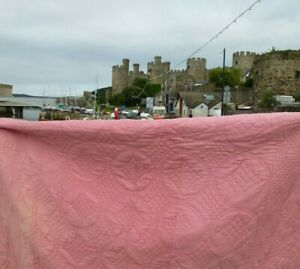 Vintage Old Welsh Pink cotton reversible Quilt quilted West Wales Hand stitched