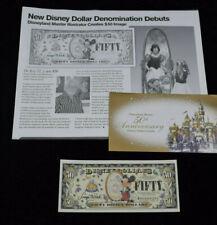 Disney Dollar $50 Boyer Disneyland 50th Anniversary Charles 50 Fifty LOW NUMBER