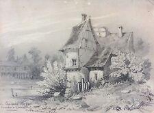 Bois Thierry en 1848 dessin signé daté Capitaine Roze Caudry Nord