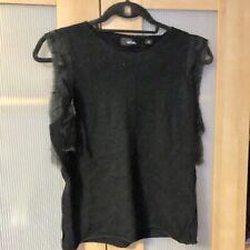 Whistles Black Angora Lambswool Nylon Blend Sleeveless Top Size M